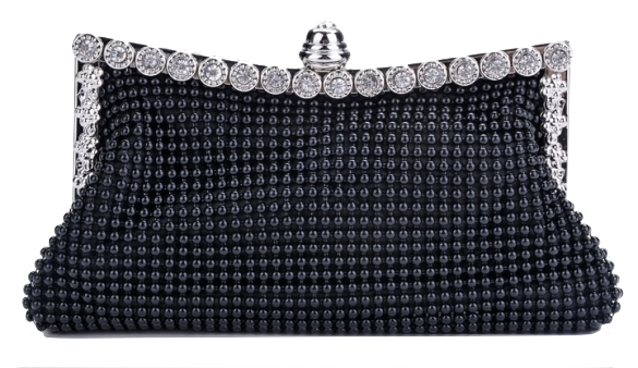 Crystal Beaded Evening Clutch in Black