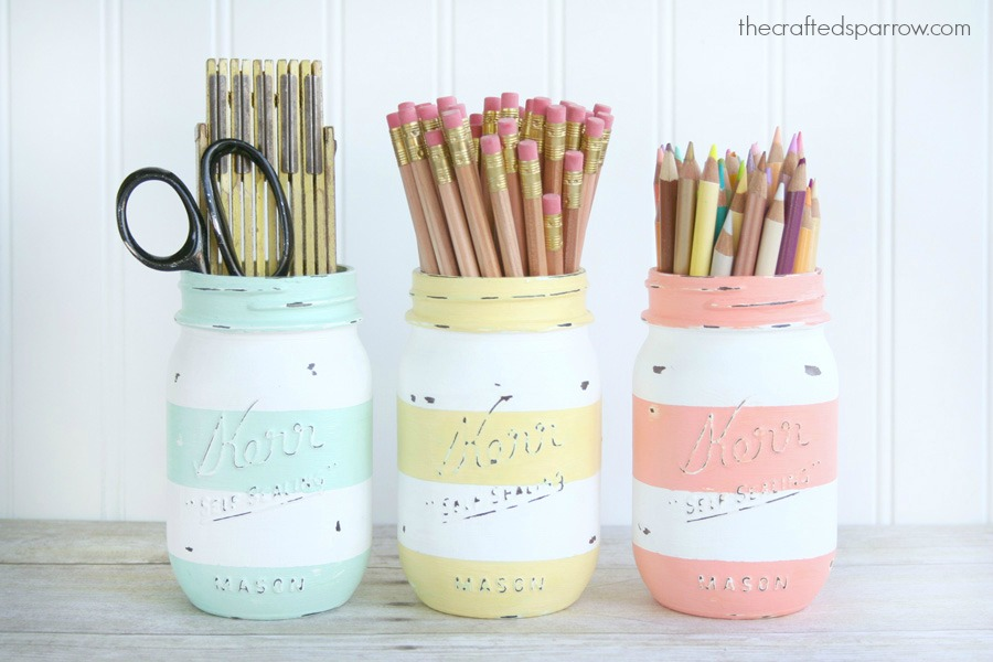 DIY spring-inspired striped jars
