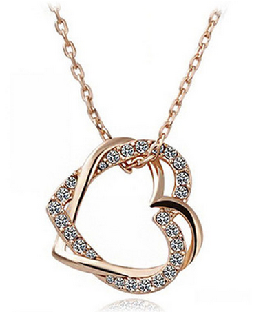 Gold Double Heart Pendant Crystal Necklace