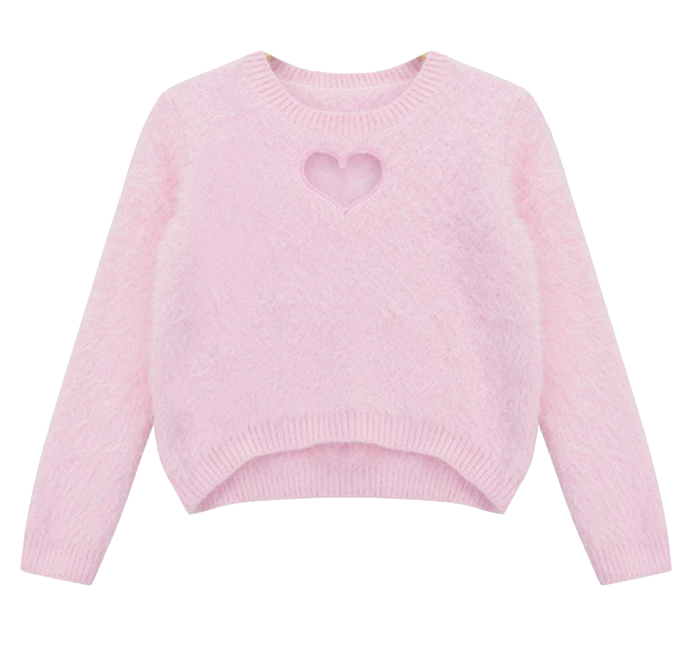 Heart Cut Out Fluffly Knit Sweater in Pink