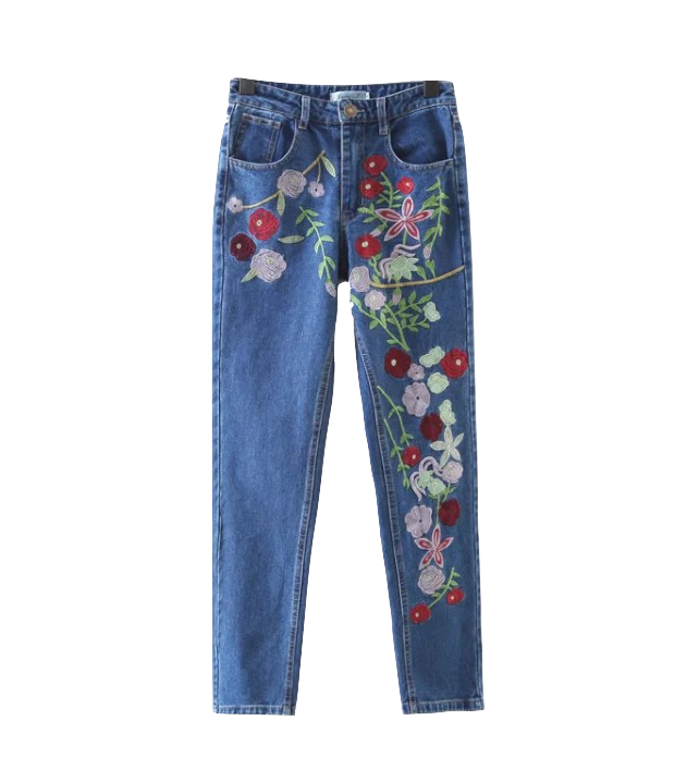 High Waisted Floral Embroidered Denim Mom Jeans