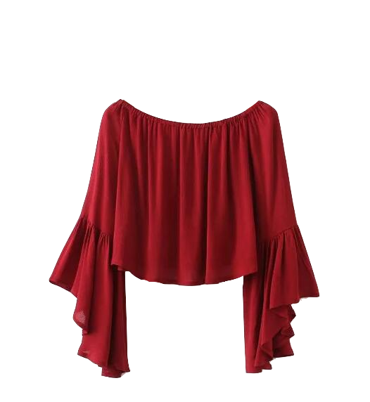 Off-the-shoulder Flared Sleeves Cropped Top in Red