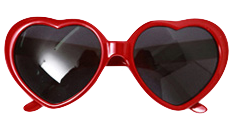 Red Heart Shaped Black Lens Sunglasses
