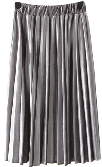 Velvet Pleated Midi High Waist Skirt in Gray