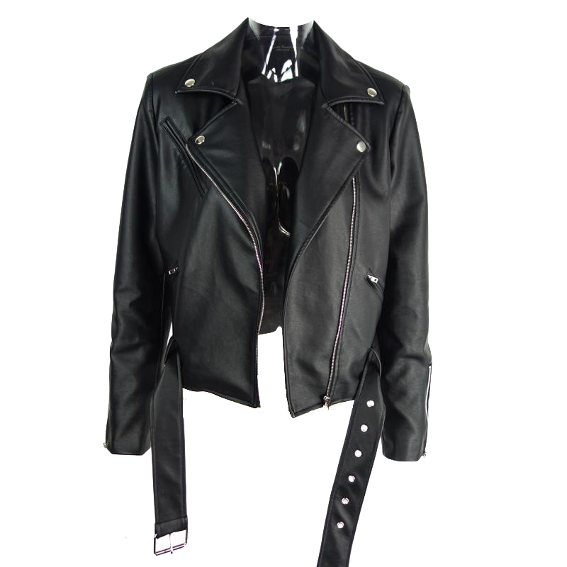 Women's Black Faux Leather Jacket with Adjustable Waist Belt