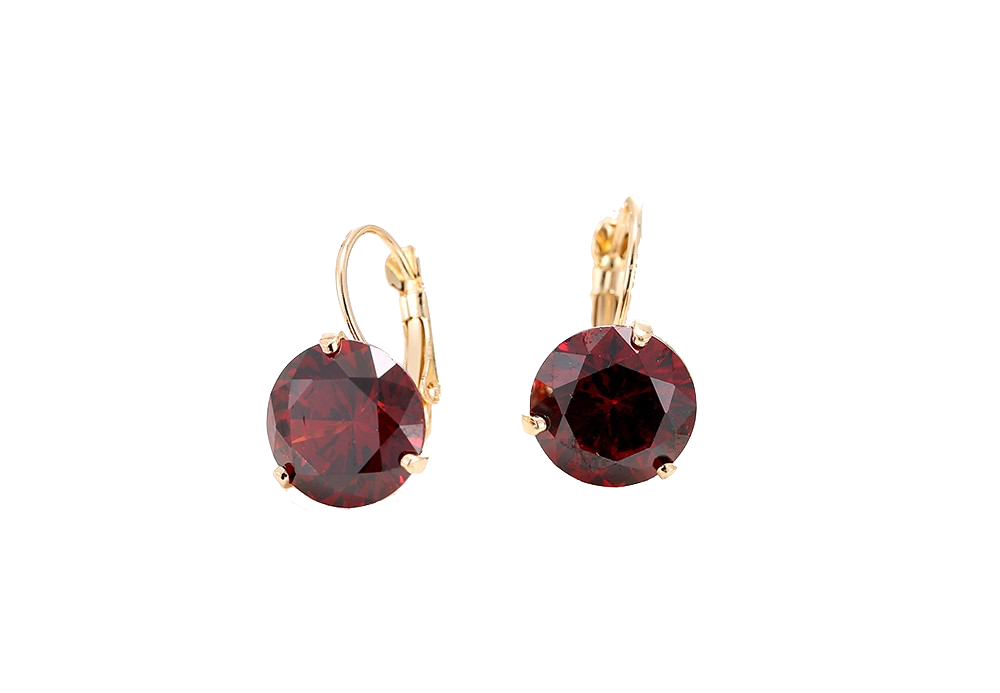 Women's Crystal Earrings in Burgundy
