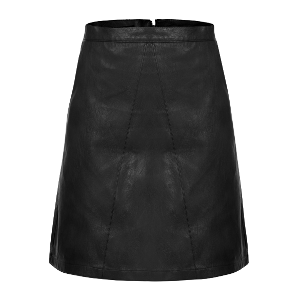 Women's High Waisted Synthetic Leather Solid Mini A-line Skirt with Pockets