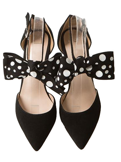 Women's pointed toe black suede stiletto heels with polka dot bowknot