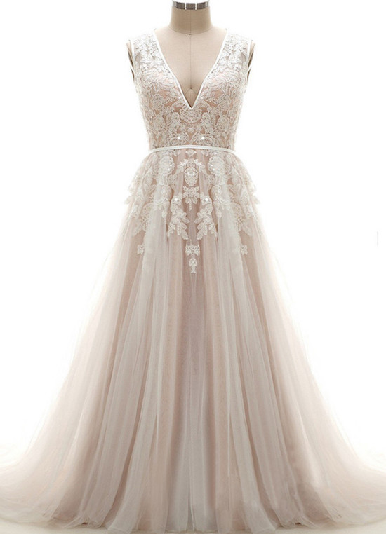plunging-tulle-wedding-dress