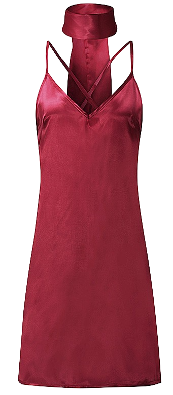 silk satin slip dress with V-neck and cross back