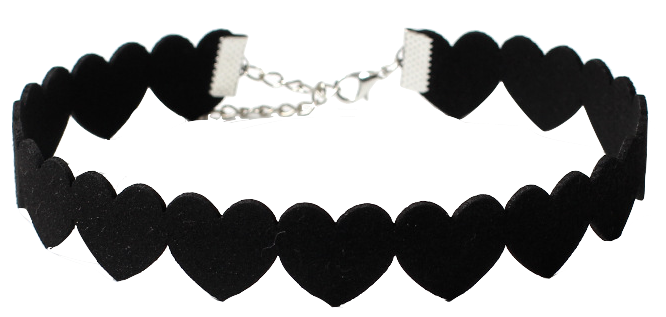 velvet heart choker necklace in black
