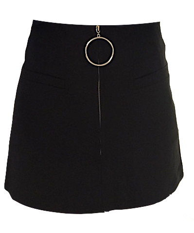 Black A-Line Skirt Featuring Hoop Zipper