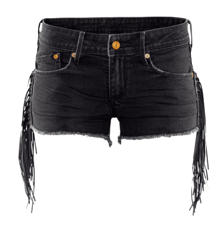 Black Denim Shorts with Frayed Hem and Fringe Detailing