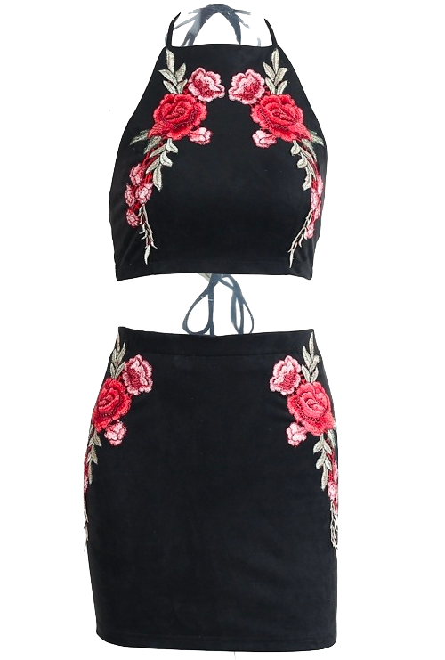 Black Floral Embroidery Two Piece