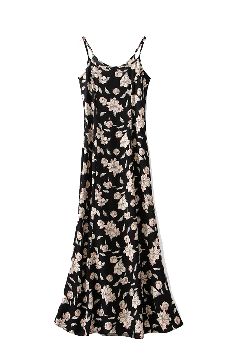 Black Floral Print Spaghetti Strap Maxi Dress