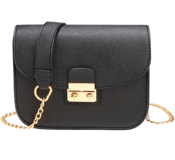 Black Leather Crossbody Featuring Chain Shoulder Straps