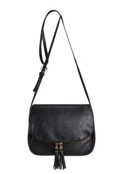 Black Leather Messenger Shoulder Bag Featuring Tassel Detailing