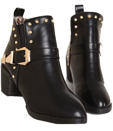 Black Leather Rivets Ankle Boots