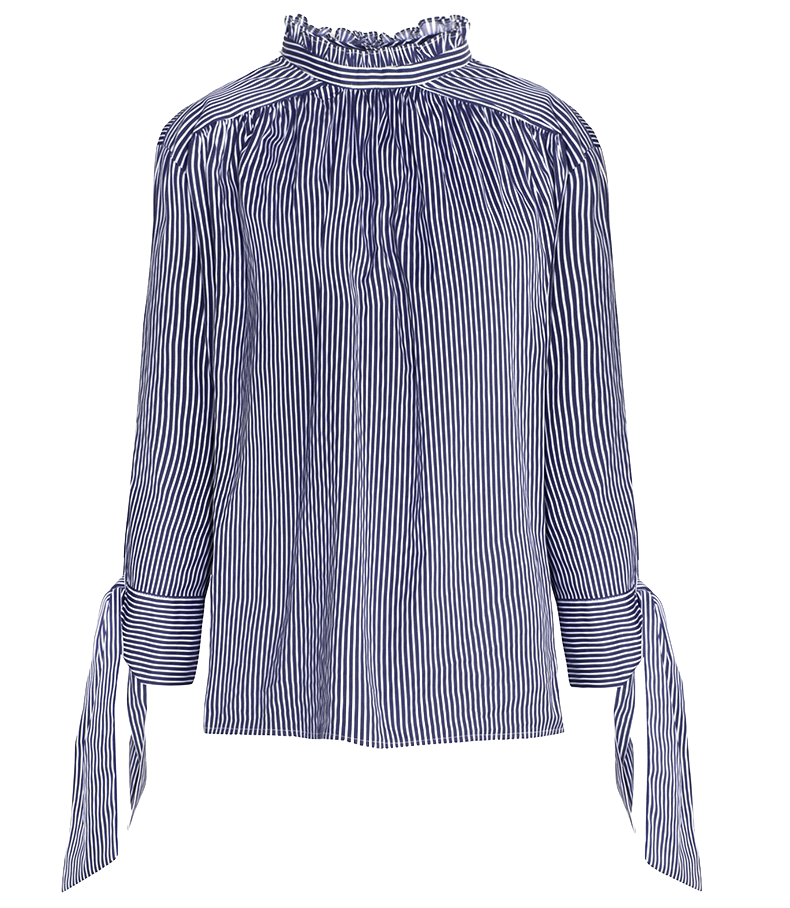 Blue and White Stripes Long Sleeves Top Featuring Ruffle Neck and Side Ties