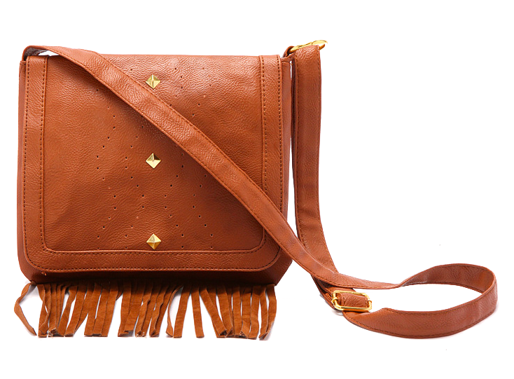 Brown Leather Crossbody Featuring Fringe Detailing