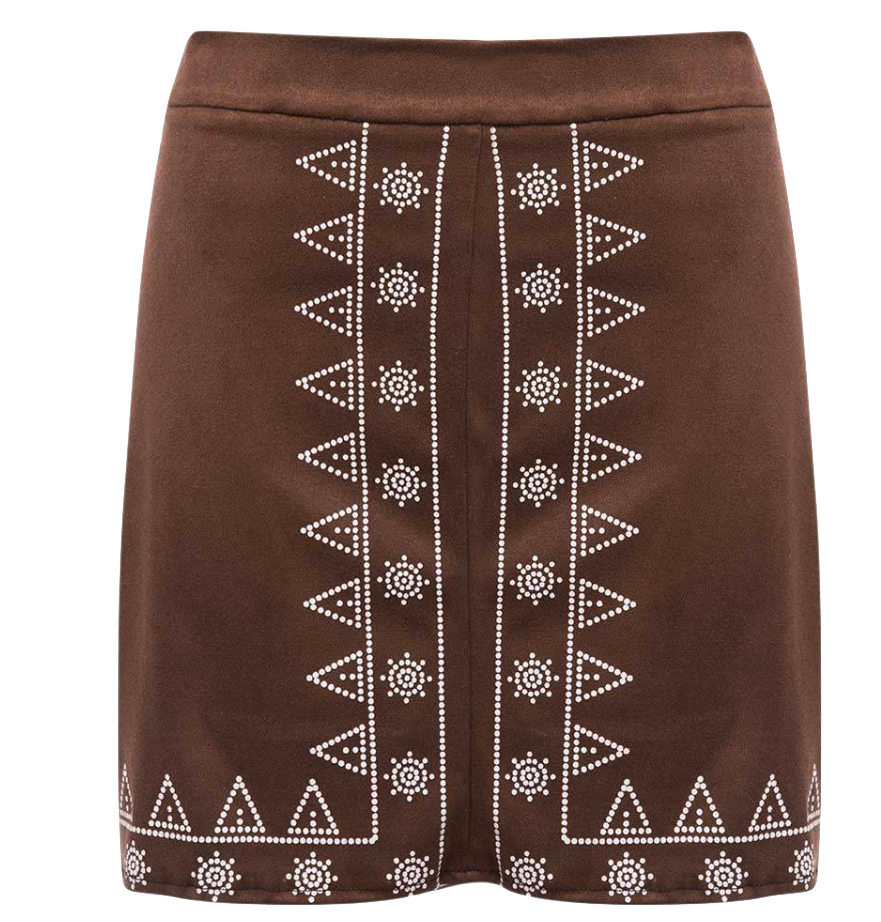 Brown Short High-Waisted Skirt Featuring Tribal Print