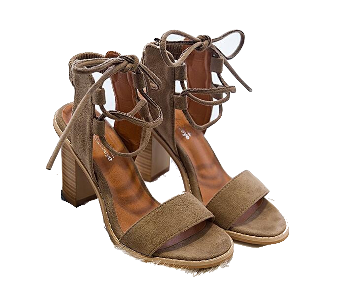 Brown Suede Lace-Up Chunky Heel Sandals
