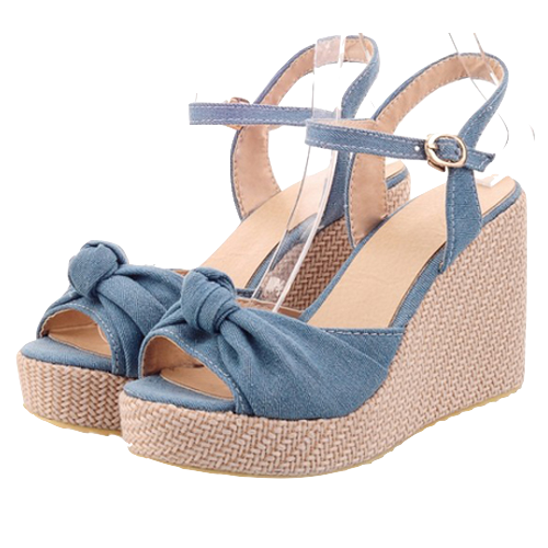 Denim Bow Accent Wedge Sandals