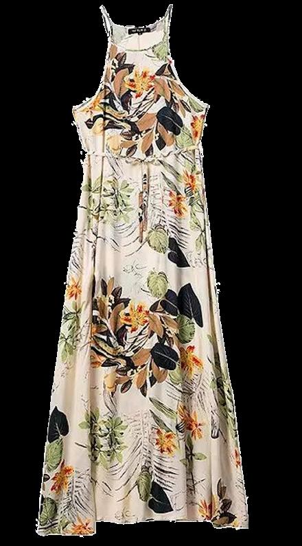 Floral-print-halter-maxi-dress