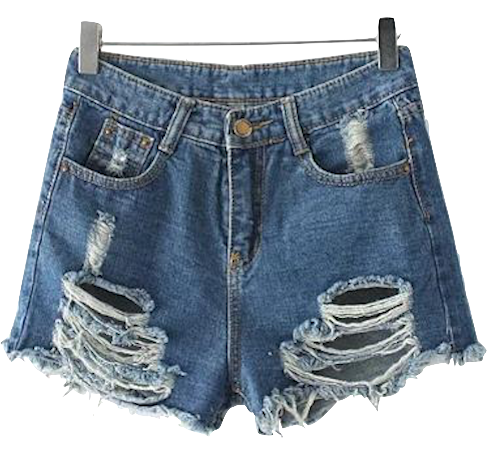 Heavily-Distressed-High-Waisted-Denim-Shorts-Featuring-Front-and-Back-Pockets