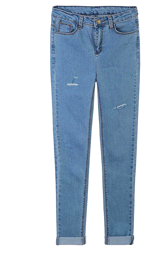 High Rise Denim Skinnies Featuring Distressed Detailing