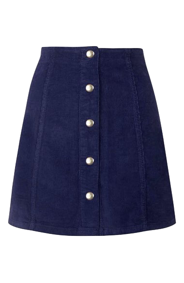 Navy Blue Corduroy Button Down A-Line Skirt