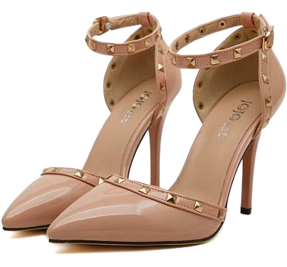 Nude Pointed Toe Ankle Strap High Heel Stilettos Featuring Studded Detailing