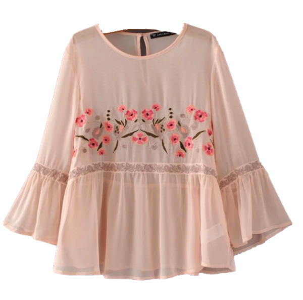 Pink-Floral-Embroidered-Blouse-with-Flared Sleeves-and-Ruffle Bottom