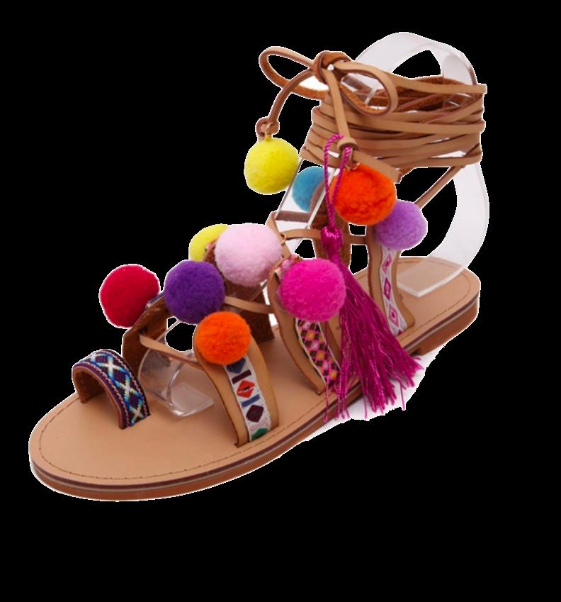 Pom Pom Embellished Leather Lace-Up Sandals