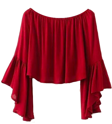 Red Off-The-Shoulder Crop Top Featuring Flared and Ruffled Sleeves