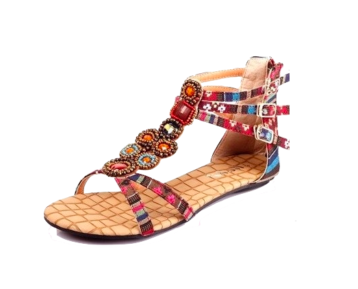 Roman Sandal Flats Featuring Beaded Embellishment