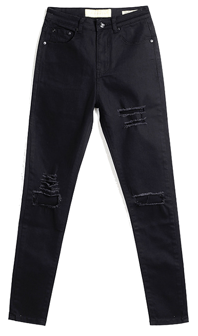 Black-skinny-distressed-jeans