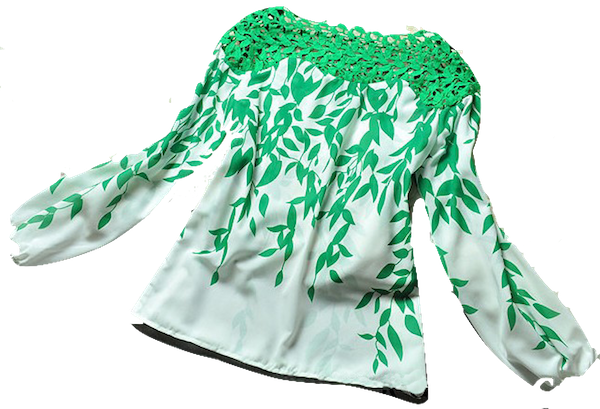 leaves-print-blouse-with-hollow-out-neckline