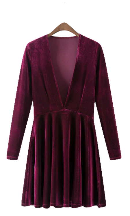 Plunge-v-velvet-long-sleeved-skater-dress