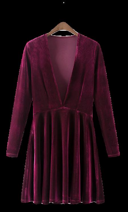 Plunge-v-velvet-long-sleeved-skater-dress