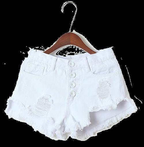 white-distressed-denim-shorts