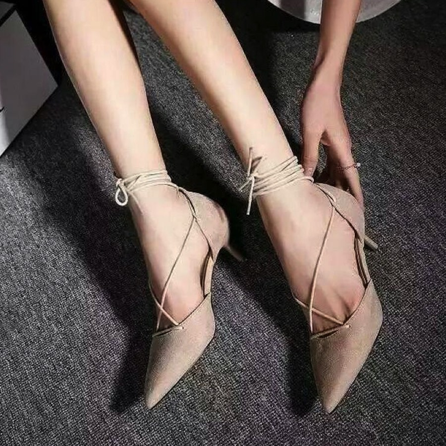 Lace-Up Pointed Toe Kitten Heels