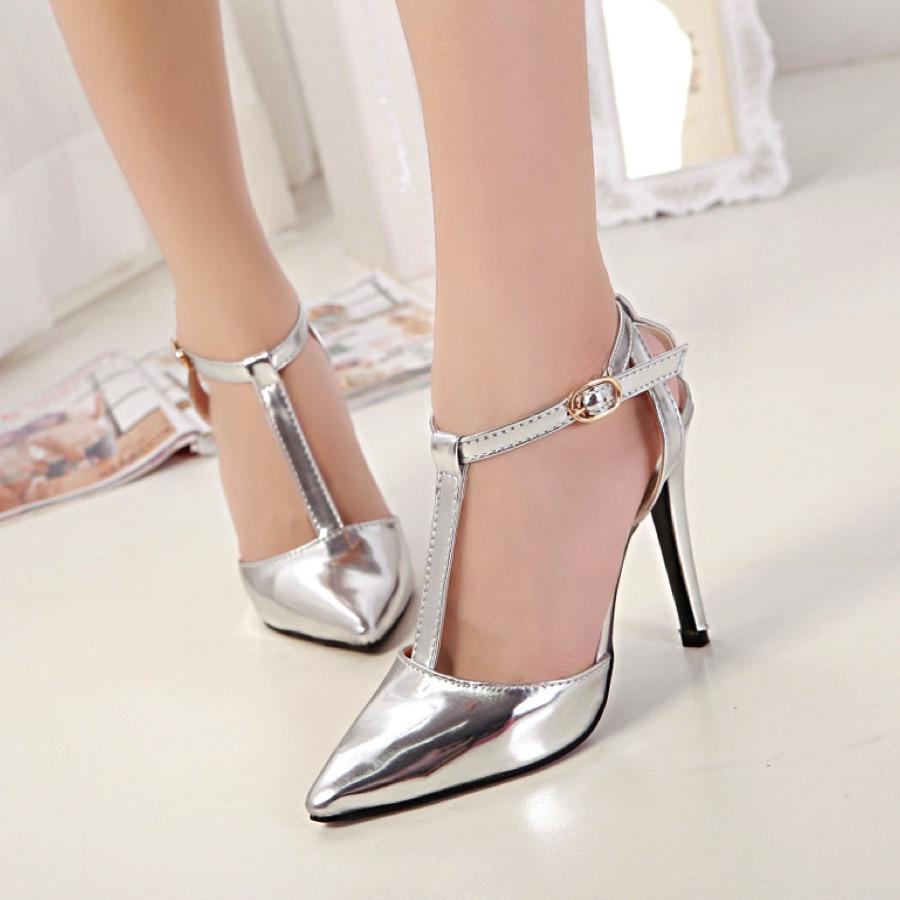 Metallic Pointed Toe High Heel Stilettos Featuring T Strap Detailing