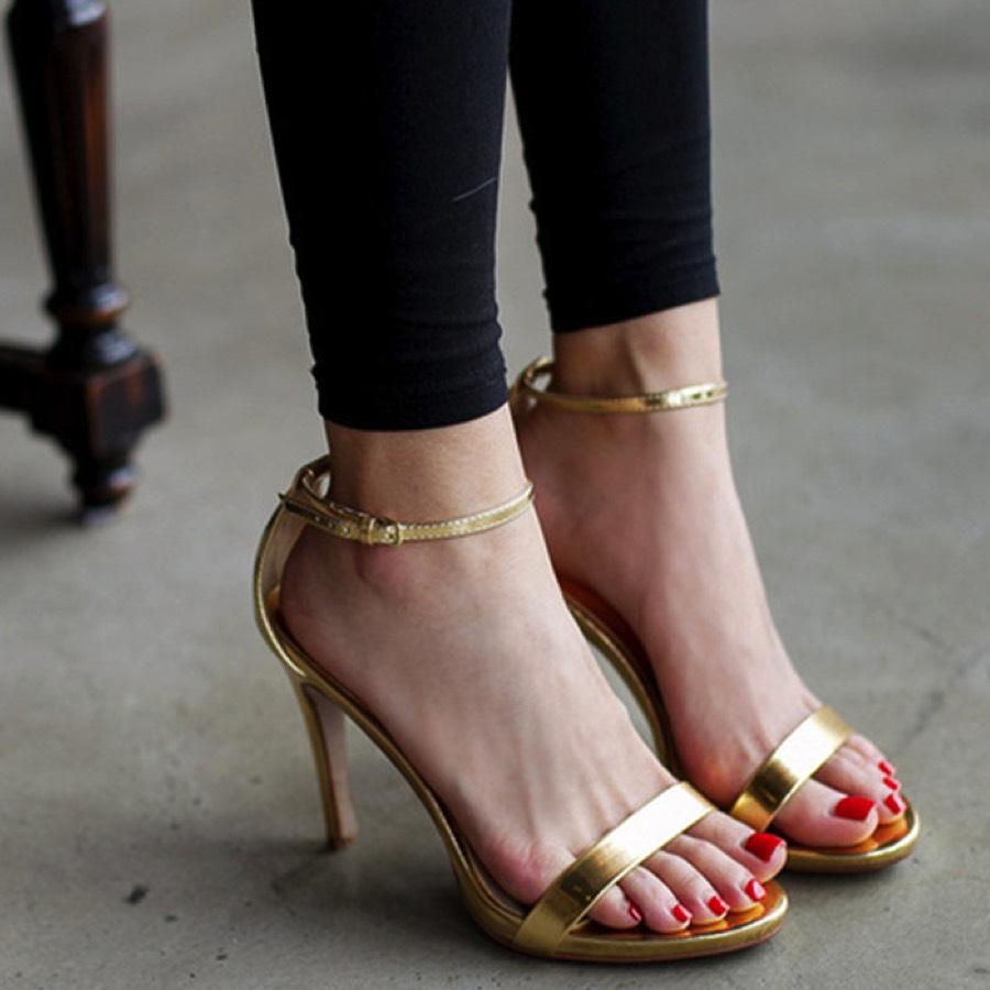 Metallic Strappy High Heel Sandals