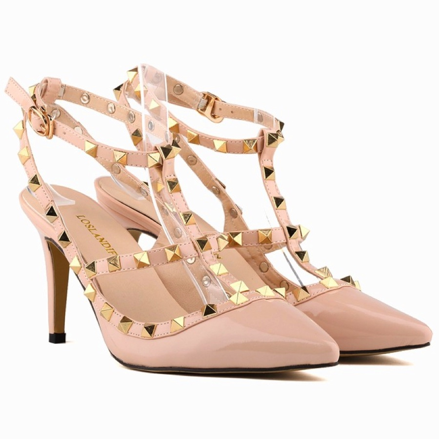 Rivets Embellished Pointed Toe Strappy Heels with Open Back Detailing