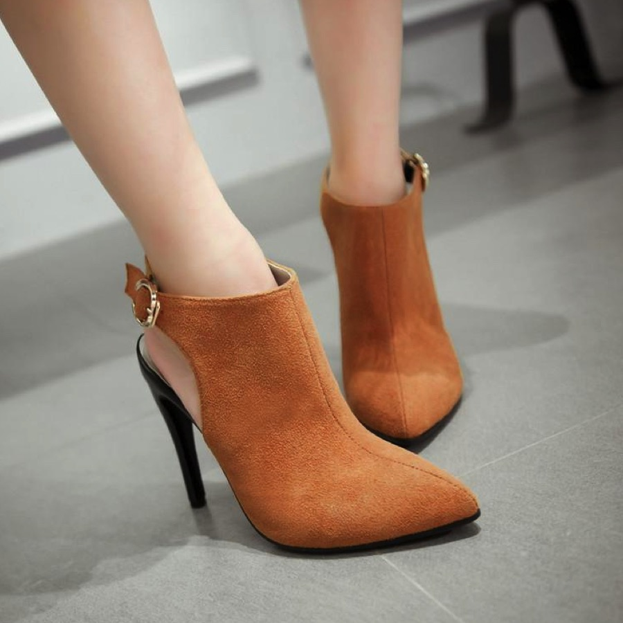 Suede Pointed Toe Ankle Booties With Cutout Back