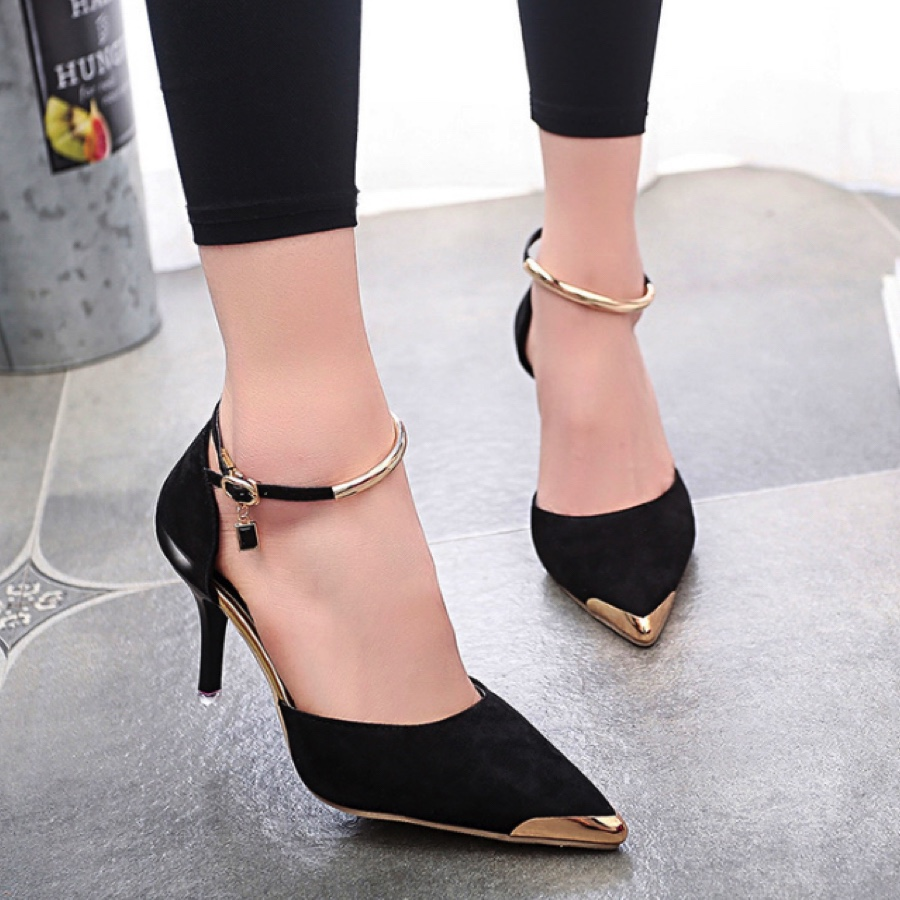 Suede Pointed Toe Kitten Heels Featuring Ankle Straps