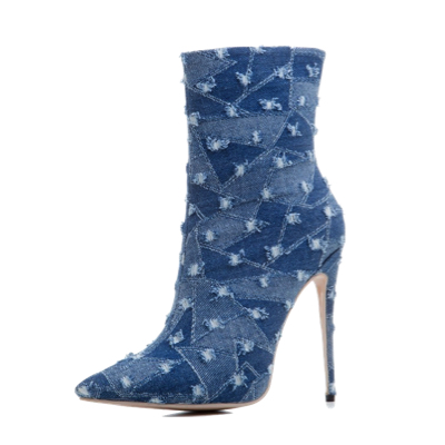denim pointed toe high heel boots