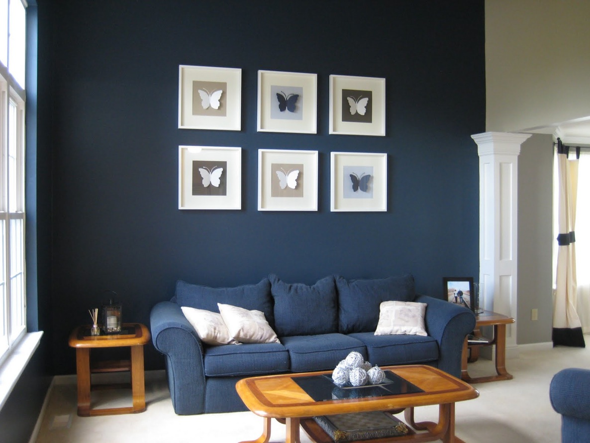 Dusky Navy Blue 2 An Eclectic Living Room