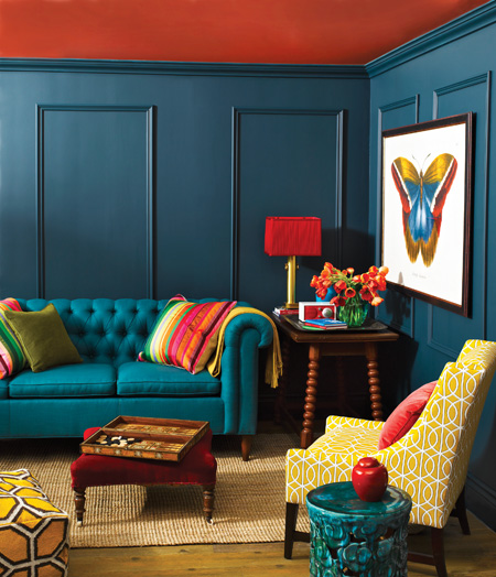 A Textured Deep Teal Wall Paired With Bright Orange Ceiling Red Accent Image Source Design Indulgence